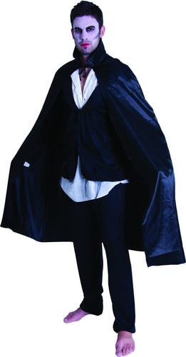 Adult Satin Cape w/Collar - Black - Red Top Box