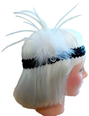 20s Flapper Headband - White/Black