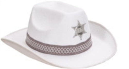 Cowboy Hat - White Feltex - Red Top Box
