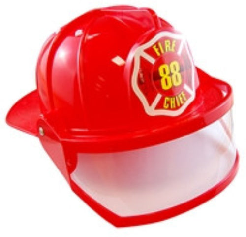 Fireman Chief Helmet w/Visor - Adult - Red Top Box