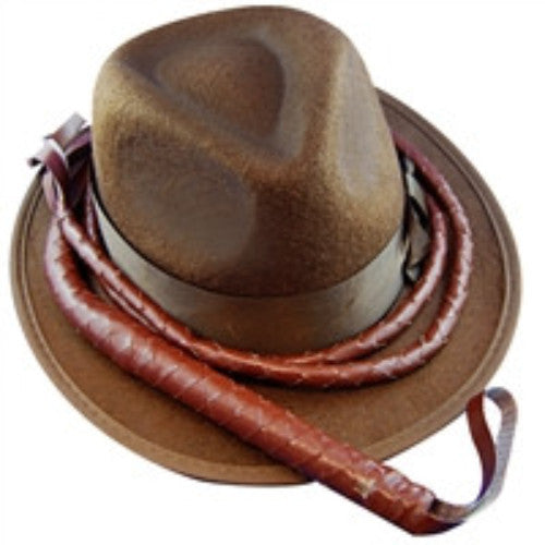Indiana Hat w/Whip - Brown Feltex - Red Top Box