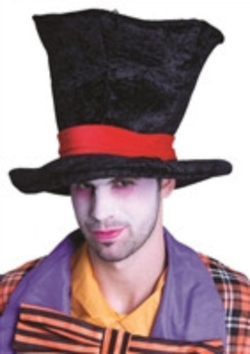 Mad Hat Top Hat - Black - Red Top Box