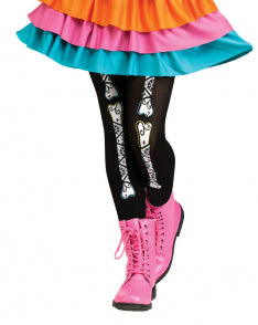 Child Footless Tights - Day of the Dead