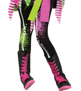 Child Footless Tights - Neon Bones
