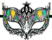 Metal Masquerade Mask - Mardi Gras Style - Red Top Box