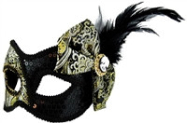 Masquerade Mask - Black w/Side Bow - Red Top Box