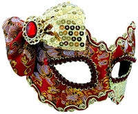 Masquerade Mask - Red & Gold w/Bow - Red Top Box