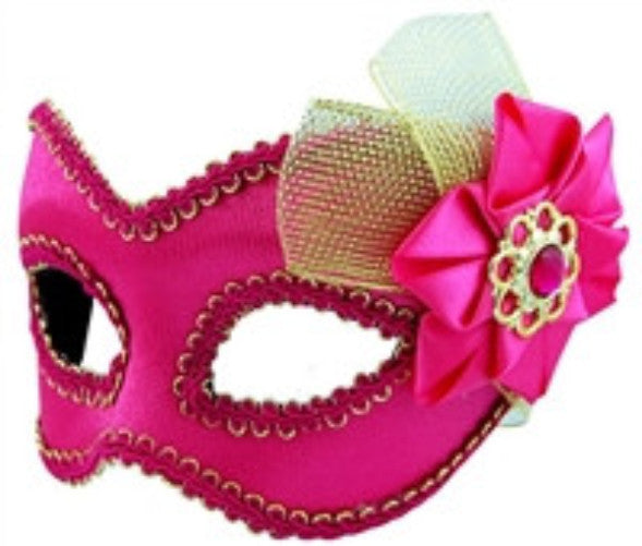 Masquerade Mask - Pink w/Tulle & Bow - Red Top Box