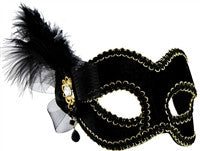 Masquerade Mask - Black w/Side Feather - Red Top Box
