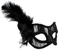Masquerade Mask - Black Lace w/Feathers - Red Top Box