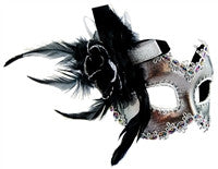 Masquerade Mask - Silver w/Side Feathers - Red Top Box