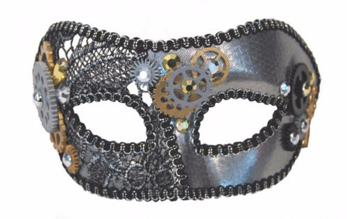 Masquerade Mask - Steampunk Gears - Red Top Box