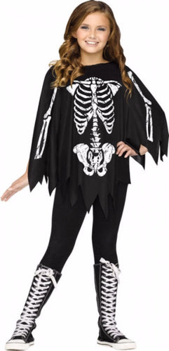 Child Skeleton Poncho - Skeleton - Red Top Box