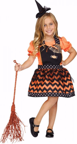 Classic Girls Instant Apron - Witch - halloween - Red Top Box