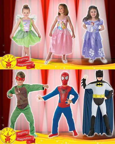 Kids Licensed Costumes - Tinkerbell, Disney Princess, Sofia, Turtles, Spiderman, Batman - SALE