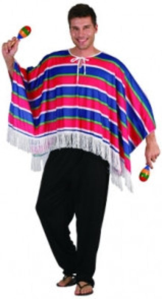 Mexican Poncho - Red/Blue - Adult - Red Top Box