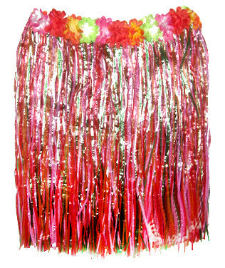 Childs Hula Skirt - Multi w/Flowers - Red Top Box