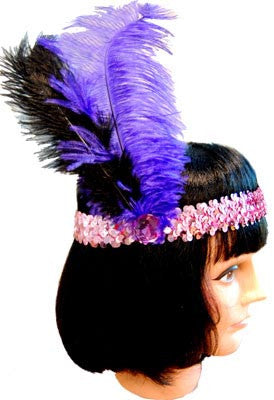 20s Headband Sequined - Purple - Red Top Box