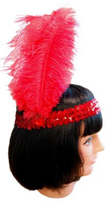 20s Headband Sequined - Red - Red Top Box