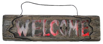 Wooden Look Sign W/Lights - Welcome - Red Top Box