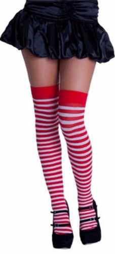 Knee High Stripy Sox - Red & White - - Elf Costume Tights for Christmas Xmas - Red Top Box