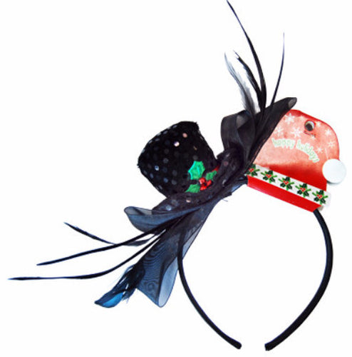 Christmas Fascinator Hband - Snowman - Red Top Box