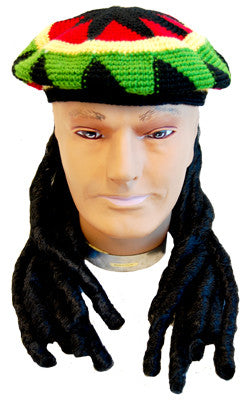 Rasta Beanie w/Dreadlocks - Red Top Box