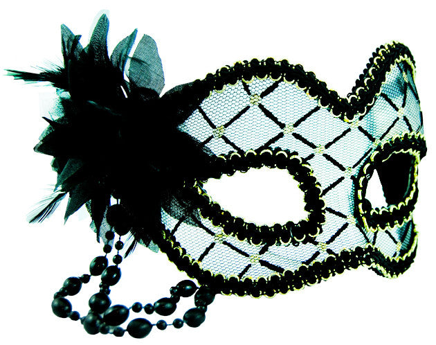 Masquerade Mask - Black & Clear w/Flower - Red Top Box