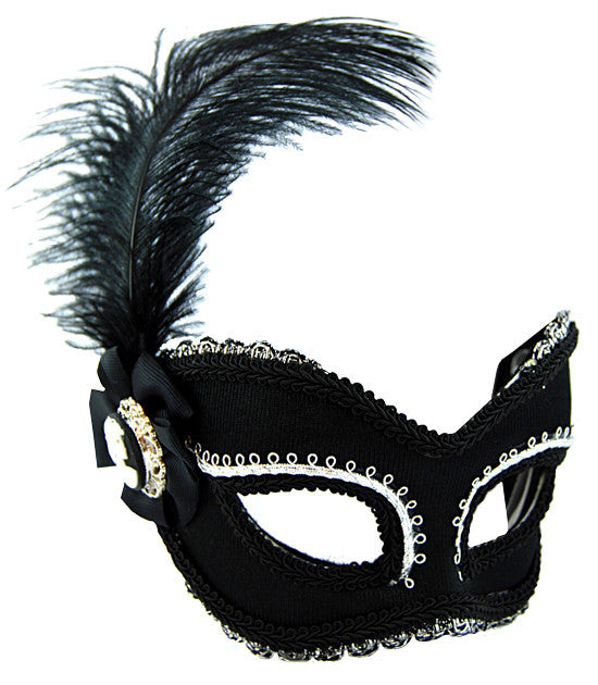 Masquerade Mask - Black & Silver w/Feath - Red Top Box
