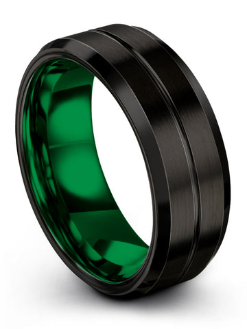 Beveled Edge Tungsten Ring Black Center Line Emerald Zing Green Interior 10mm 8mm 6mm 4mm Width Women and Mens Wedding Band