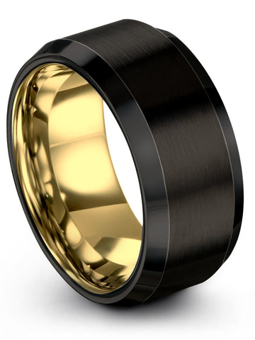 Black Yellow Gold Plated Ring