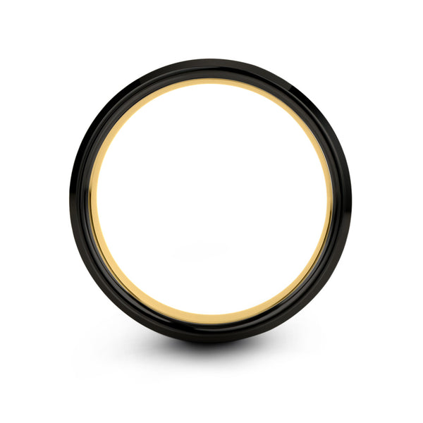18k Yellow Gold Interior Dark Knight Black Beveled Edge