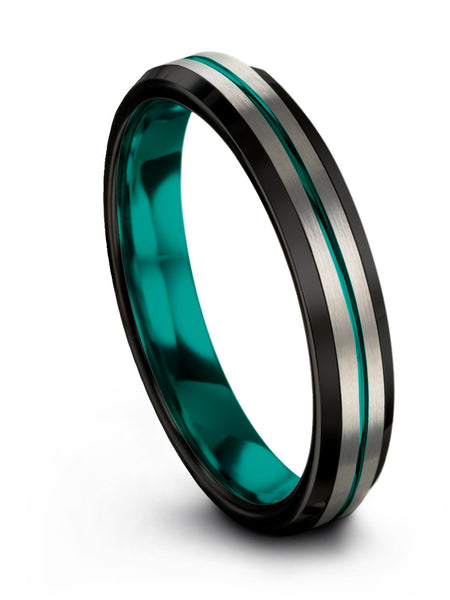 Beveled Edge Tungsten Ring Teal Center Line Aqua Teal Interior 10mm 8mm 6mm 4mm Width Women and Mens Wedding Band