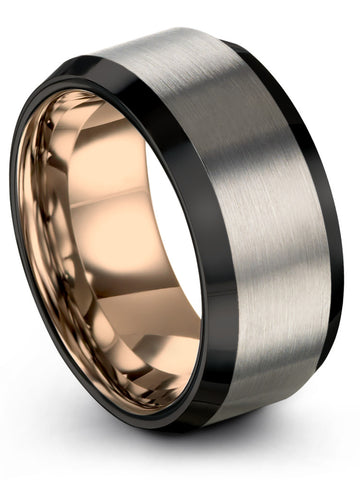 Black Grey Rose Gold Plated Tungsten 10mm Ring