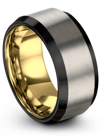 Black Grey Yellow Gold Plated Tungsten 10mm Ring