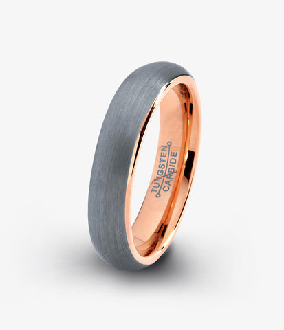 Tungsten Wedding Band Ring 5mm for Men Women Rose Gold Plated Dome Brushed Polished