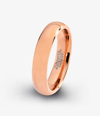 Tungsten Wedding Band Ring 5mm for Men Women Rose Gold Plated Dome Polished