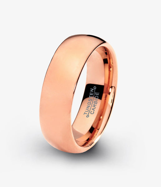 Tungsten Wedding Band Ring 7mm for Men Women Black Rose Gold Plated Dome Polished