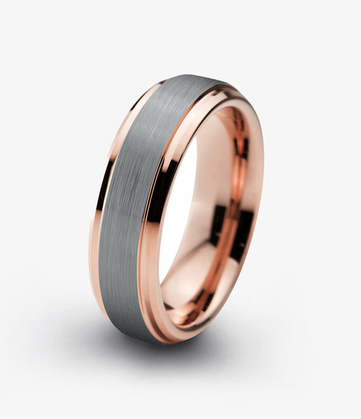 Tungsten Wedding Band 6mm Ring for Men Women Grey Rose Gold Plated Beveled Edge Brushed Polished