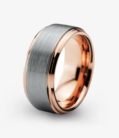 Tungsten Wedding Band 10mm Ring for Men Women Grey Rose Gold Plated Beveled Edge Brushed Polished