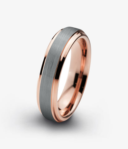 Grey Rose Gold Plated Beveled Edge Ring