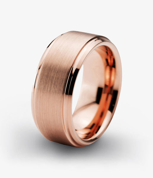 Tungsten Wedding Band 10mm Ring for Men Women Rose Gold Plated Beveled Edge Brushed Polished