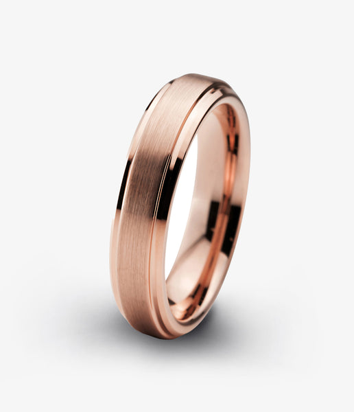 Tungsten Wedding Band 4mm Ring for Men Women Rose Gold Plated Beveled Edge Brushed Polished