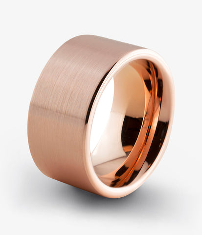 Tungsten Rose Gold Plated Flat Cut