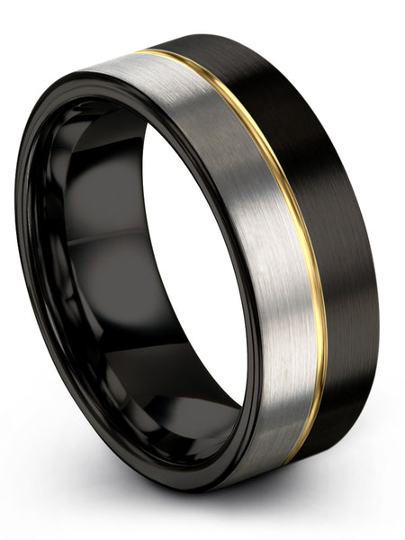 for Men Women Black Yellow Gold Plated Centerline Flat Cut