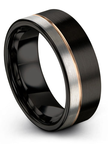 Black Rose Gold Plated Line Flat Cut Brushed Polished