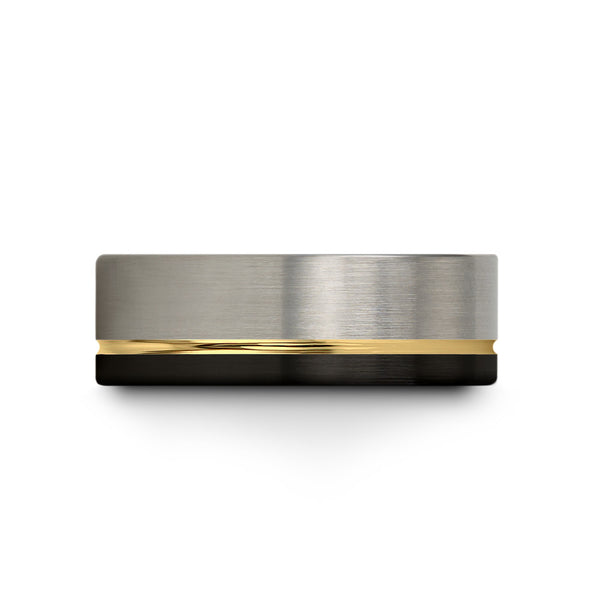 18k Yellow Gold Interior Half Brushed Dark Knight Black Flat Cut
