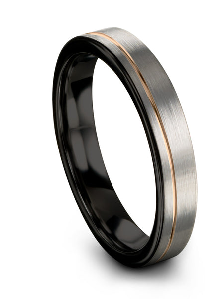 18k Rose Gold Offset Line Brushed Dark Knight Black Flat Cut