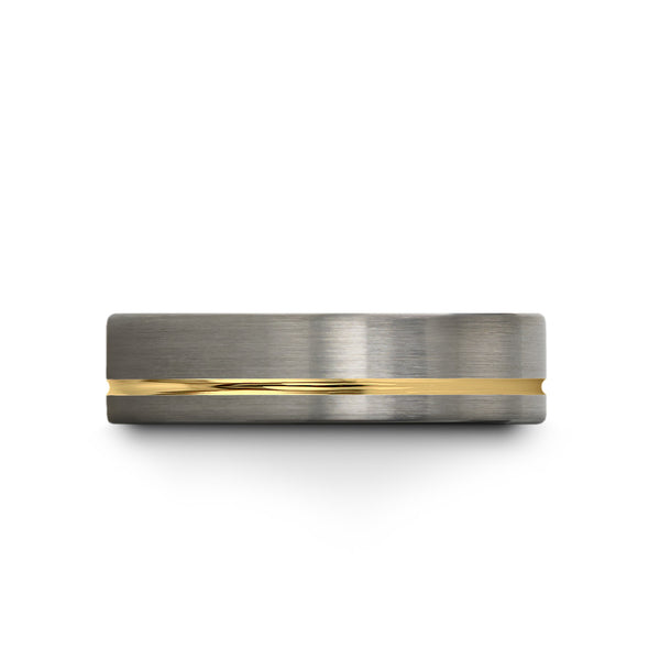 18k Yellow Gold Offset Line Brushed Dark Knight Black Flat Cut