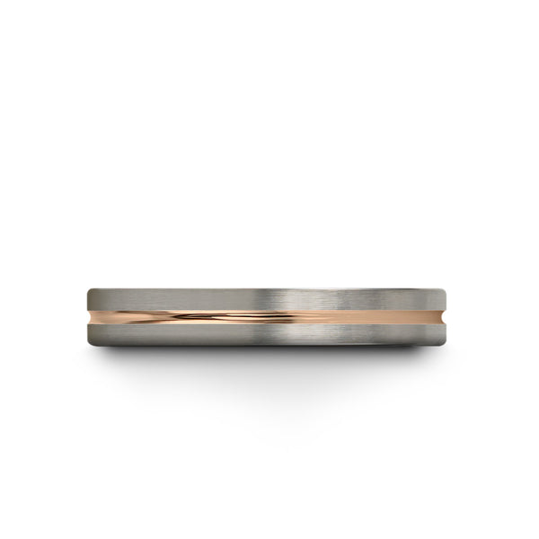 18k Rose Gold Interior Brushed Galena Grey Flat Cut